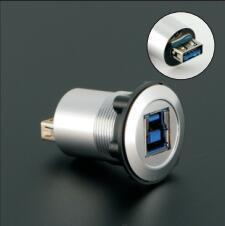 22mm mounting diameter metal USB3.0 Female B to Female A with silver surface
