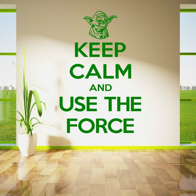 Keep calm and use the force star wars yoda vinyl wall sticker home decor art mural