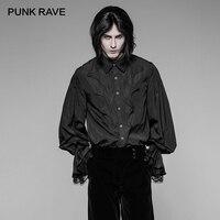 PUNK RAVE New Gothic Bat Lantern Sleeve Vintage Black Shirt Gorgeous Casual Men's Party Top Lantern Sleeves Lace Cuffs Design