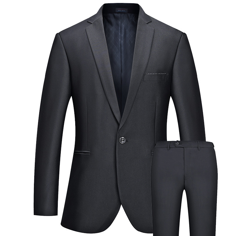 Men's Formal One Button Business Suits Slim Fit Quality Gentlemen Suits Set Bridegroom Wedding Dress Suits Black FS-099