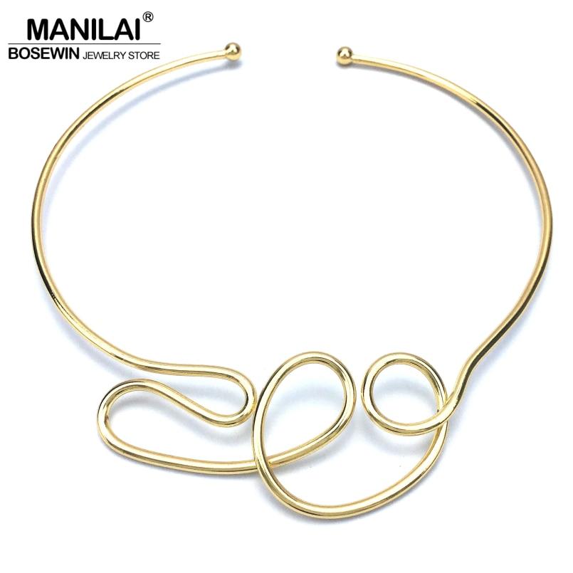 MANILAI גיאומטרי סגסוגת לולאות שרשראות לנשים 2018 תכשיטים ביב צווארון שרשרת הצהרת פאנק עיצוב