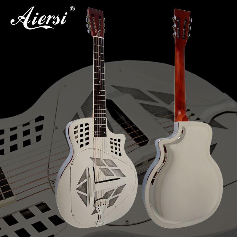 aiersi brand cutway shape tricone acoustic metal body resonator guitar free guitar and strap in. Black Bedroom Furniture Sets. Home Design Ideas