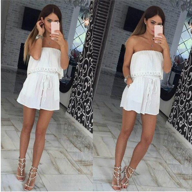 a872d9e8fa2a Summer Elegant Female Playsuit Strapless Off Shoulder Plain Shorts Romper  Pants Suits For Women Party Casual Jumpsuit Overalls