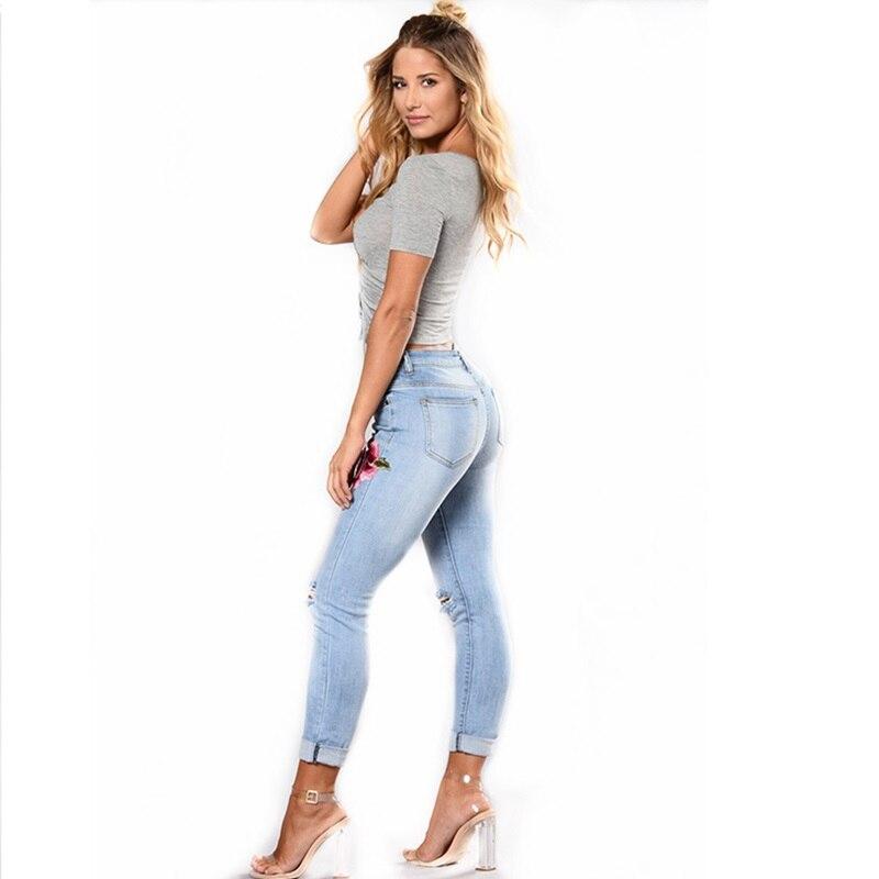 купить Women Light Blue Casual Skinny Distressed Flower Embroidered High Waist Roll Hem Jeans Plus Size Sale онлайн