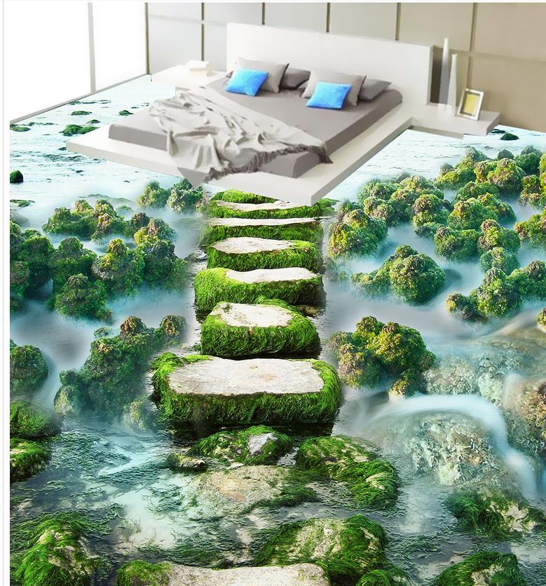Photo wallpaper mural floor Custom Photo self-adhesive 3D floor ocean beach Bathroom 3d wallpaper floor beibehang custom photo floor painted
