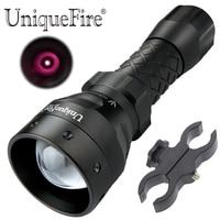 UniqueFire 3 Mode 1407 850NM IR LED Torch Zoom Flashlight Night Vision Lantern and Scope Mount Coyote Hog KIT Set