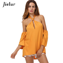 2019 Summer Fashion Large Size Women's Shirt Sexy Strapless Halter Blusas Hollow Backless Top Female Chic Yellow Chiffon Blouse