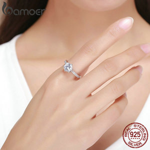Image 5 - BAMOER High Quality 925 Sterling Silver Wedding Ring Princess Square CZ Finger Rings for Women Silver Engagement Jewelry SCR342