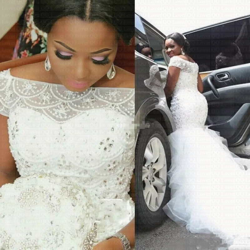2019 Stunning Beading Nigerian Mermaid Wedding Dress Plus