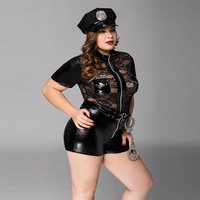 XXL Vinyl Leather Sexy Policewoman Costume Bodysuit Hot Ladies Leather Lace Cop Cosplay Playsuit Fancy Role Play