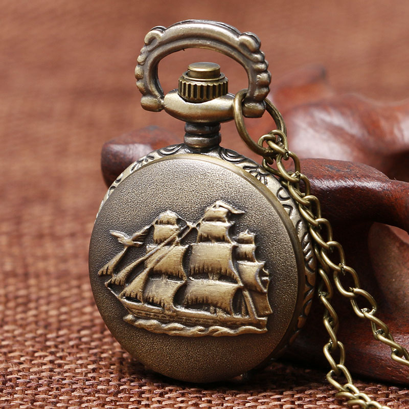 Vintage Bronze Retro Bronze 3D Sailboat Design Small Size Quartz Pocket Watch With Sweater Necklace Chain Free Shipping To Women free drop shipping elegant golden snitch quartz fob pocket watch with sweater necklace chain