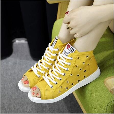 Female casual shoes 2017 summer new open-toed flat-bottomed female fish canvas shoes hollow breathable sandals