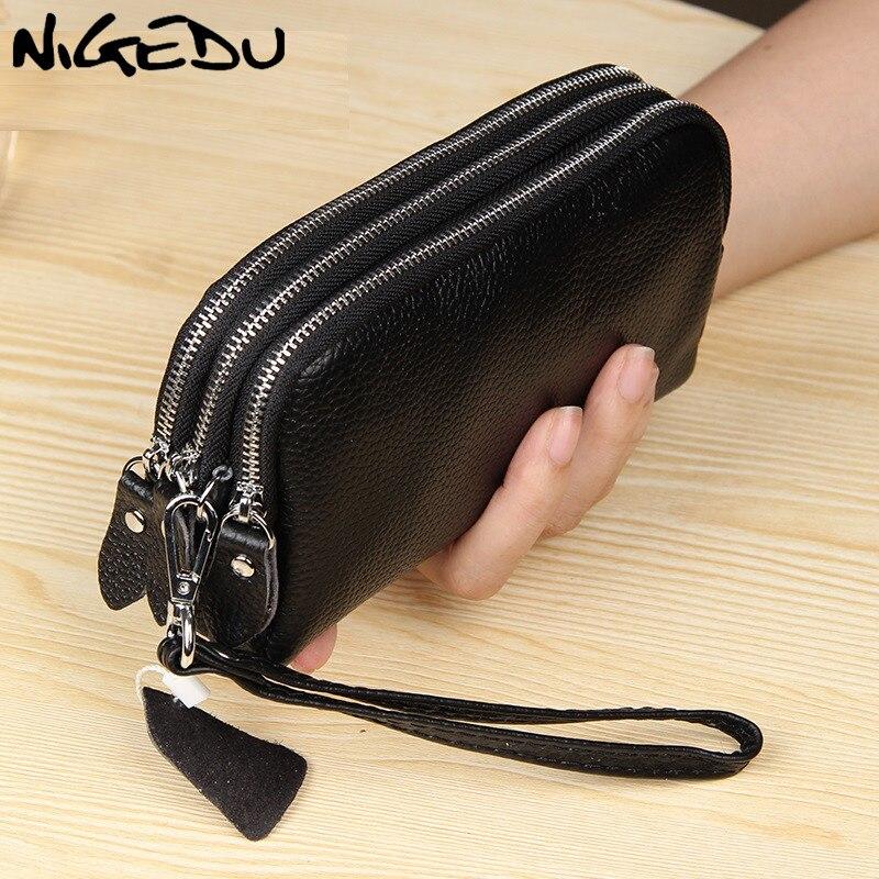 NIGEDU Lange Frauen Brieftasche Aus Echtem Leder 3 schichten Zipper Armband Tasche Große Kapazität Dame Kupplung Geldbörse handy tasche schwarz