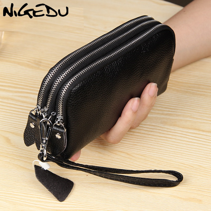 NIGEDU Long Women Wallet Genuine Leather 3 Layers Zipper Wristlet Bag Big Capacity Lady Clutch Coin Purse Mobile Phone Bag Black