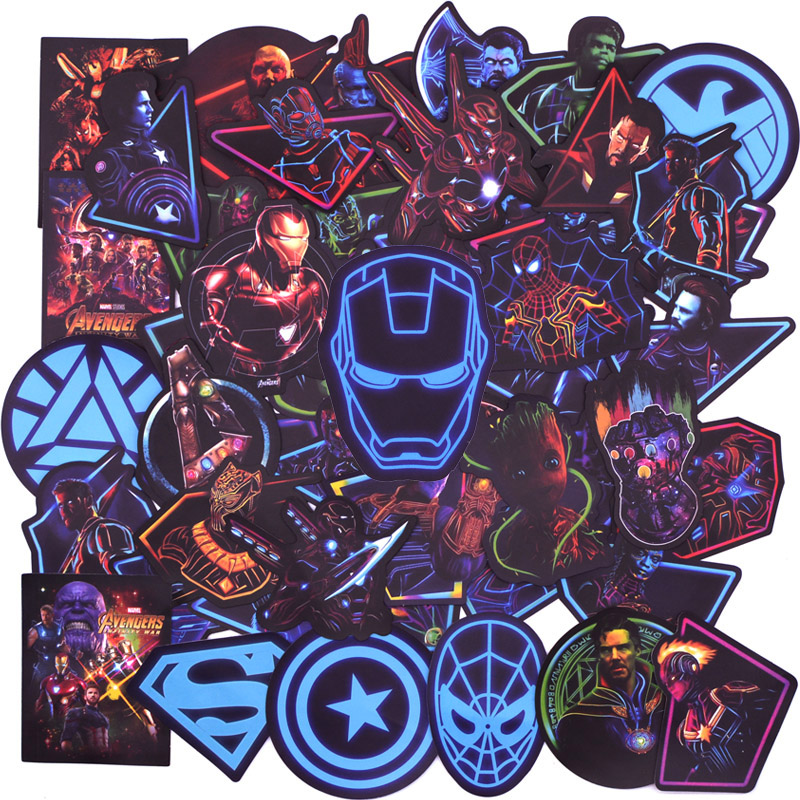 50 PCS Neon Super Hero Avengers Stickers For Luggage Laptop Decal Skateboard Stickers Bike Motorcycle Fridge Bomb JDM Sticker(China)