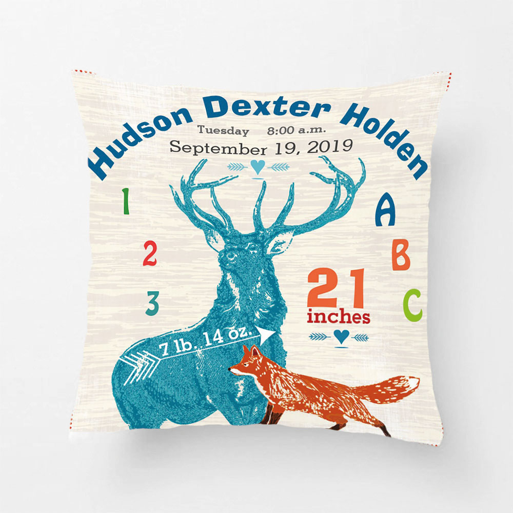 Nursery Baby Boy Birth Stat Fox Deer Arrow Throw Pillow Decorative Cushion Cover Pillow Case Customize Gift By Lvsure For Seat