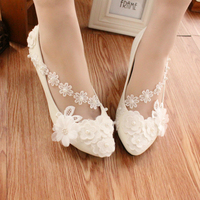 2017 Moda de Nueva Marca Mujer Zapatos de La Boda de Encaje Blanco Nupcial Tacones Altos Bombas Partido/Zapatos de Vestir Los Pies En Punta Tamaño EU35-40 Z690