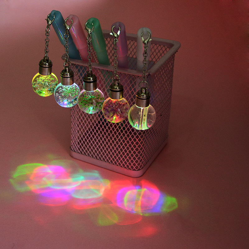 1 Pcs Creative Cute Eternal Flower Light Bulb Pendant Gel Pen School Office Writing Signing Pens Stationery Student Gift Supply
