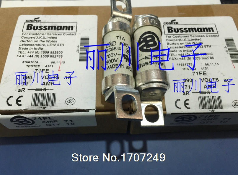 цена на New Original US BUSSMANN fuse 690V 71A BS88: 4 71FE fuse BUSS fuses BS88 4 71A 690V fast fuse
