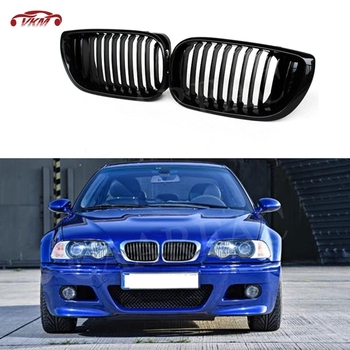 Front Kidney Double Slat Grill Mesh Grille Frame Covers for BMW 3 Series E46 4 Door Coupe 2002-05 318I 320I 325I 330I image