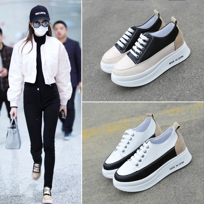 2018 Spring New Thick Platform Casual Wild Korean White Shoes Female Flat Canvas