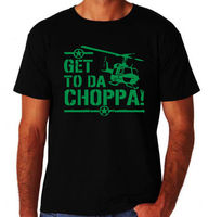 Get To Da Choppa Chopper Funny Arnold Classic 80 S Action Movie New Mens T Shirt