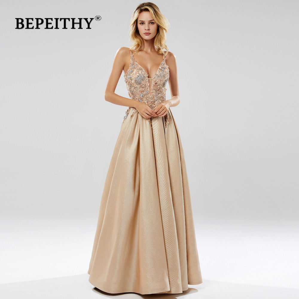 BEPEITHY Glitter Champagne Long Evening Dress Party Elegant Lace Bodice Sexy Open Back Prom Gown Vestido De Festa 2019