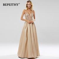 BEPEITHY Glitter Champagne Long Evening Dress Party Elegant Lace Bodice Sexy Open Back Prom Gown Vestido De Festa 2019