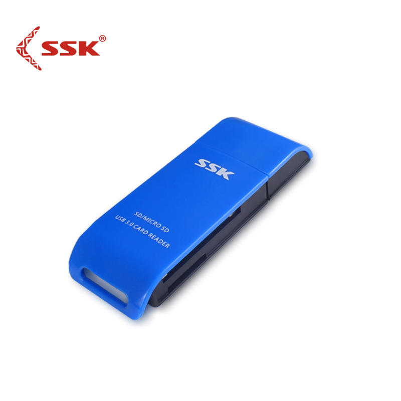 SSK USB 3.0 2 In 1 Card Reader High Speed USB 3.0 SD/ Micro SD/SDXC/TF/T-Flash Memory Card Reader Adapter SCRM331