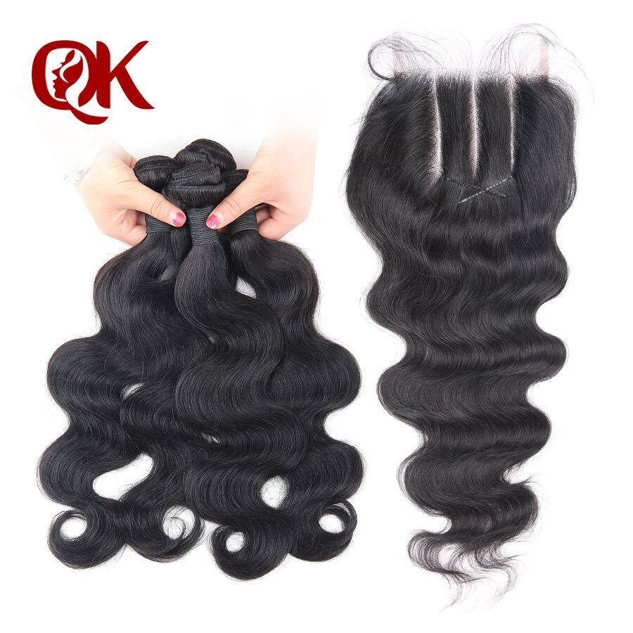 QueenKing Hair Brazilian Body Wave Remy Hair 4 Bundles With 5X5 3 Part Lace Closure