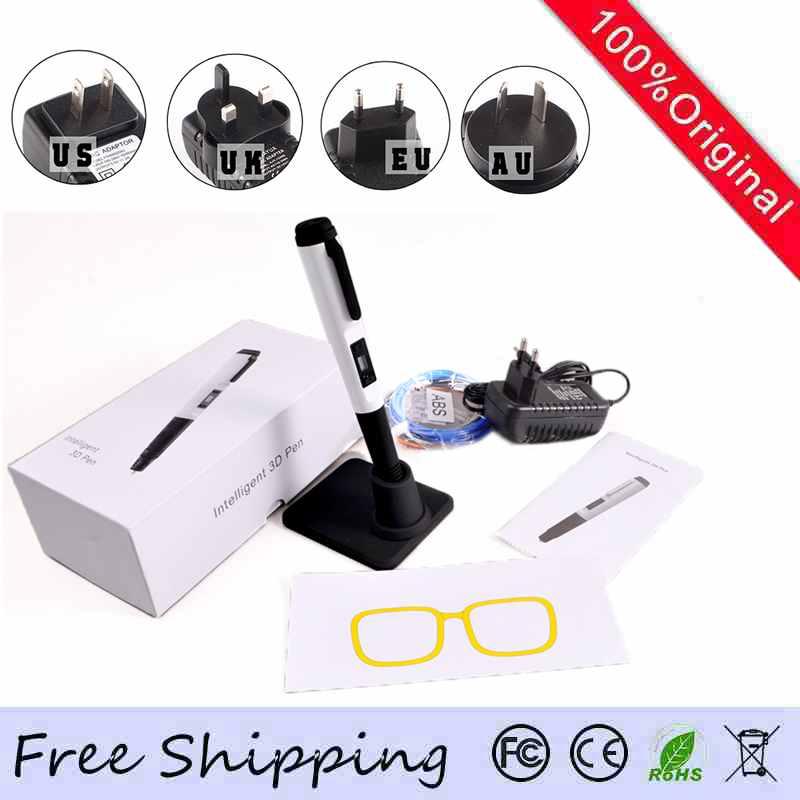 ФОТО Newest 3D Pen 6TH Generation 3D Printing Pen 8 digital speed Adjustable With Free 10M ABS/PLA Filament AU/US/UK/EU plug 3D Pens