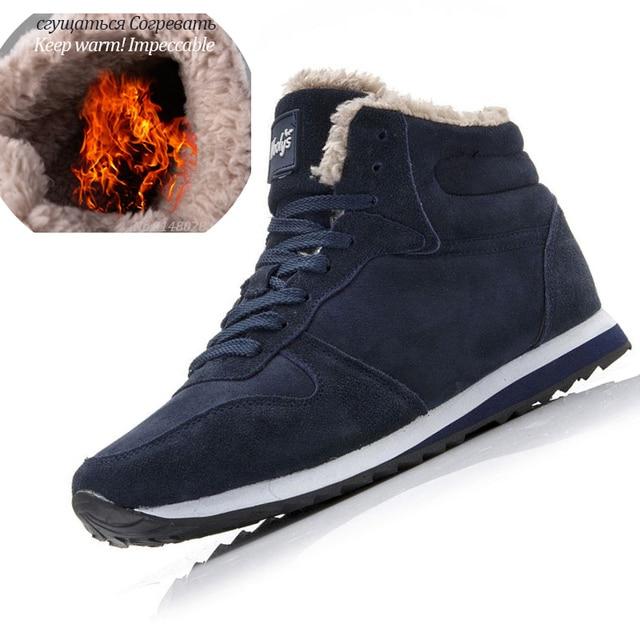 Men Winter Boots Fur Shoes Lace Up Warm Snow Boots Fashion Winter Shoes