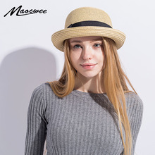 Women's Summer Hat Cute Girl Straw Hat Bow tie Spring Bucket Hat for Female Solid Color Beach Hats Summer Sun Cap for Woman