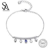 SA SILVERAGE 925 Sterling Silver Water Drop Charms Bracelets For Women S925 Fine Jewelry Office Lady