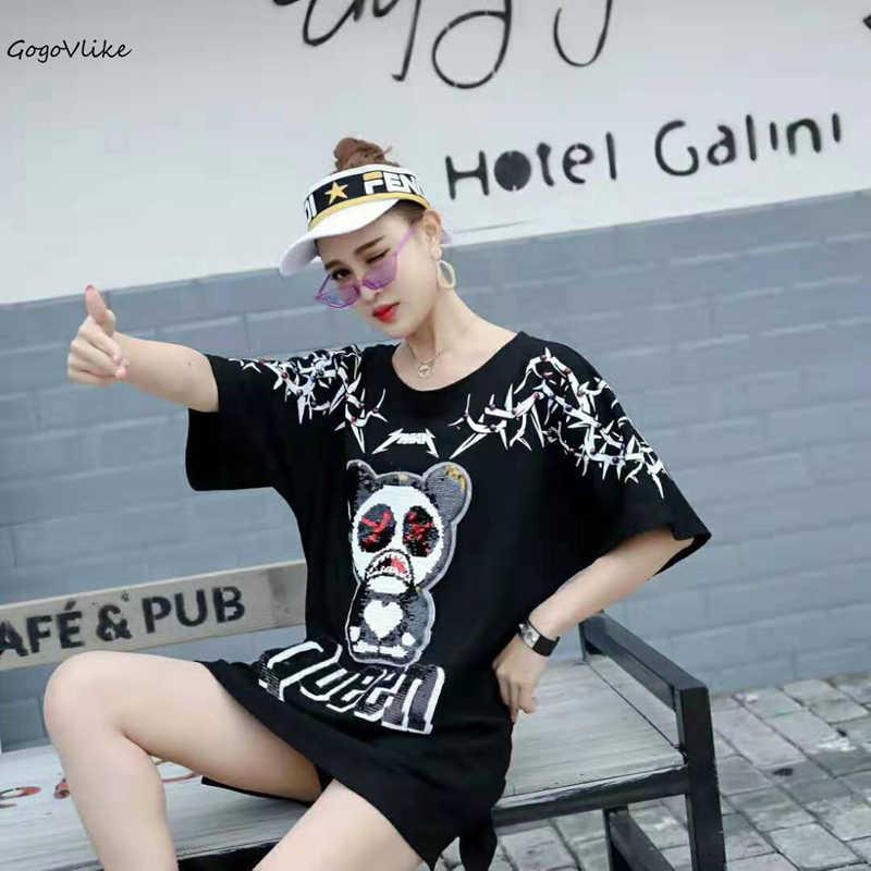 Sequined Panda t shirt hip hop Short sleeve 2019 women Oversize Long Banboom Top Tees ulzzang Punk Tops Plus size LT504S50