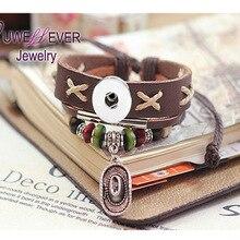 Wholesale NIMEI036 Genuine Leather Retro fashion Bracelet Snap Button Jewelry Charm (fit 18mm 20mm snaps)