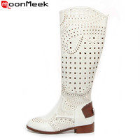 Hot Sale Women S Summer Knee High Boots Square Heels Cut Outs Hollow Flats Spring Summer