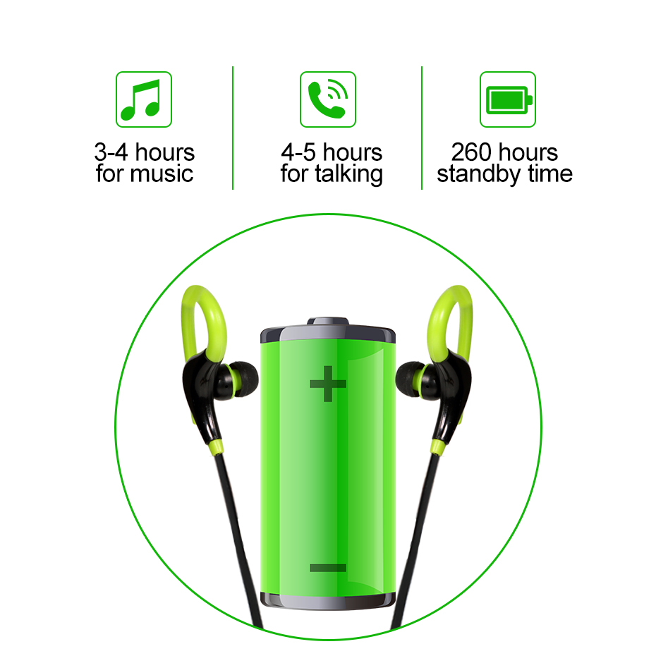 Wireless Bluetooth Earphone Cordless Headphone with Mic Running Sports Portable Neckband Headsets for ios Andriod Mobile Phone 3