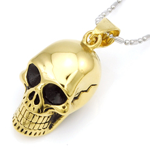 NIENDO Promotion Fashion Gold Color Skull Head Stainless Steel Men Jewelry Pendant Necklace Trendy Halloween Gift DP1666B