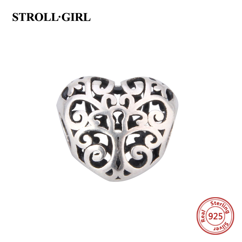Fit Authentic pandora charms Bracelet Silver 925 Original Vintage love heart Charm DIY Charms Antique Bead Fashion Jewelry Gifts