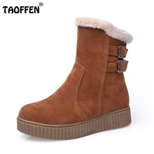 Women Round Toe Flat Ankle Boots Woman New Fashion Buckle Style Shoes Ladies Warm Fur Winter Bootines Mujer Size 33-43