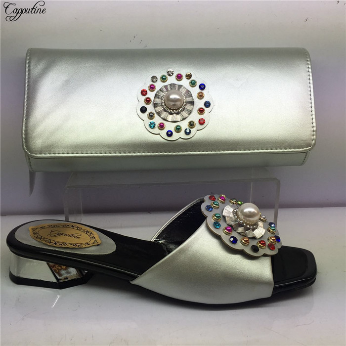 Pretty silver African medium heel slipper with bag hot sale lady shoes and handbag set with pearls GY31 heel height 4cm
