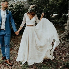 Boho Wedding Dresses 2019 Three Quarter Sleeve Two Pieces robe de mariee Ivory Chiffon Lace Princess Beach Bridal Gowns
