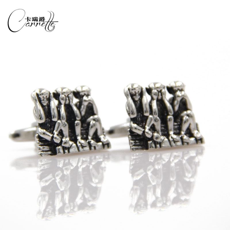 Kiola Designs Black and Silver Toned Three Monkeys Cufflinks
