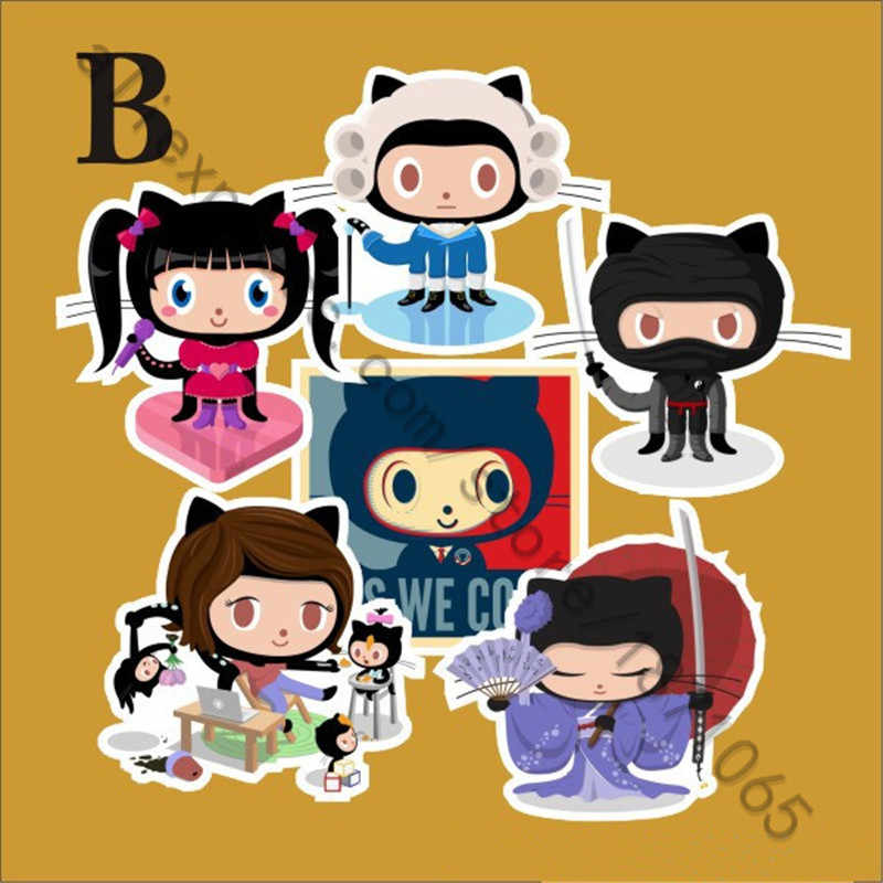6Pcs/Lot Anime Github Octocat Sticker For Car Laptop Luggage Skateboard  Motorcycle Snowboard Phone Case Decal Stickers