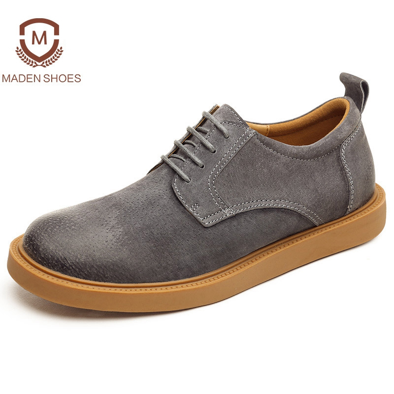 Maden 2018 Spring Summer High Quality Cow Suede Men Casual shoes Fashion Design Flats Comfortable Footwear Yellow Trend Sneakers top brand high quality genuine leather casual men shoes cow suede comfortable loafers soft breathable shoes men flats warm