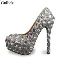 Gullick Big Size Crsytal Platform Pumps For Women Round Toe Thin Heels Wedding Party Dress Shoes Slip on Bride Shoes Lady