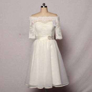 4a2735fbc816 Vestido corto de dama de honor de encaje cuello Barco de Mingli Tengda con  hombros descubiertos vestidos de dama de honor para vestido de encaje de ...