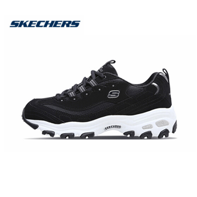 Womens Skechers D/'Lites Trainers Black White Pink Grey Trainers Shoes