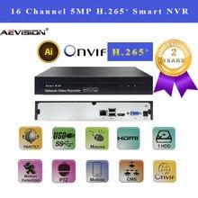 H.265 H.264 NVR 16 CH P2P 5MP enregistreur vidéo réseau prend en charge 1VGA + 1HDMI onvif enregistreur de vidéosurveillance pour la surveillance de caméra de sécurité IP